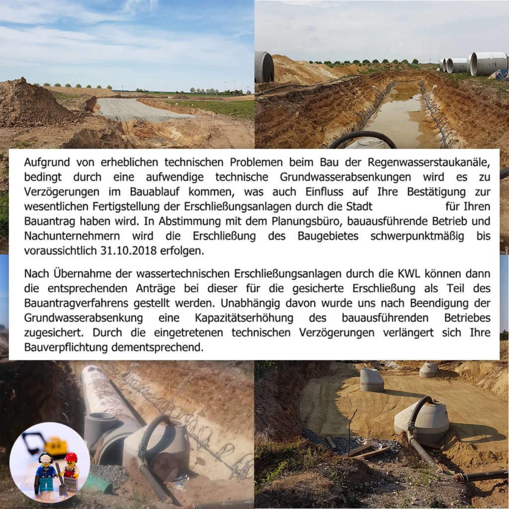 Bestätigung zur Verzögerung der Erschließung des Grundstücks