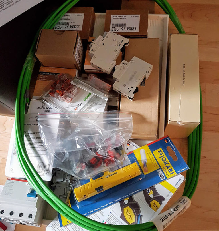 Die Produkte für unser KNX Testbrett