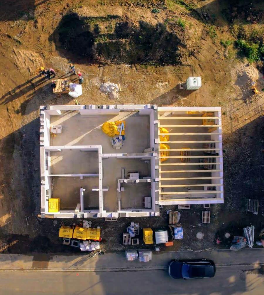 Luftaufnahme vom Rohbau mit einer Drohne Quelle: EHH Fotografie