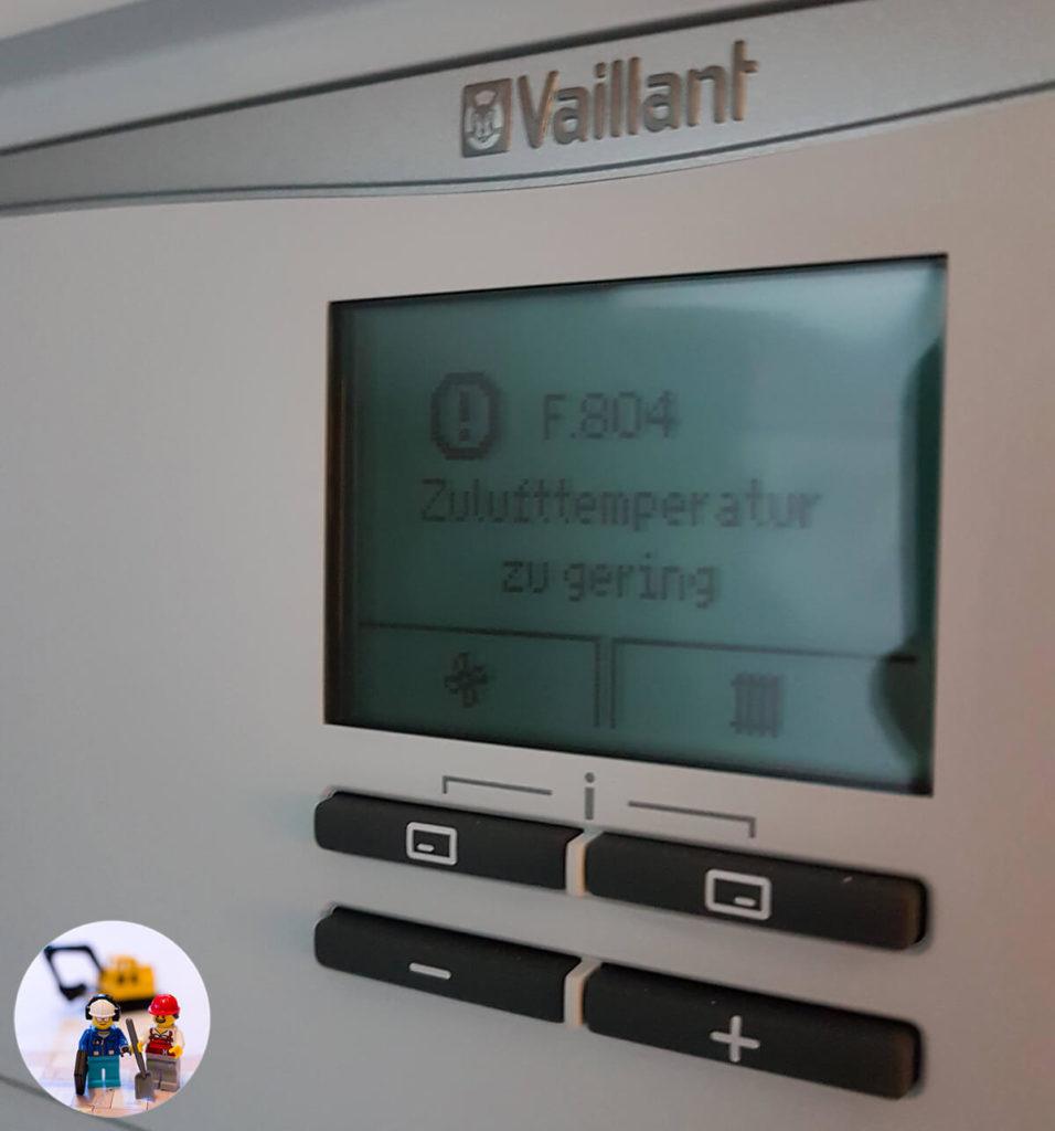 Vaillant recoVAIR 260/4 E: Fehler 804 Zulufttemperatur