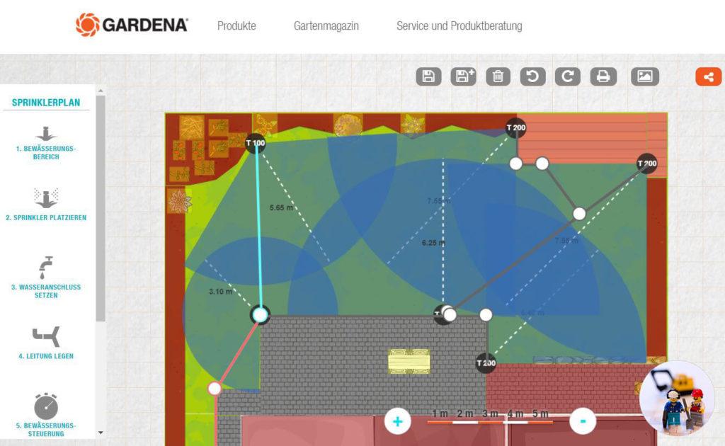 Planung automatische Gartenbewässerung Gardena Gartenplaner