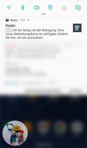 Die App meldet, dass der Saugvorgang abgeschlossen ist.